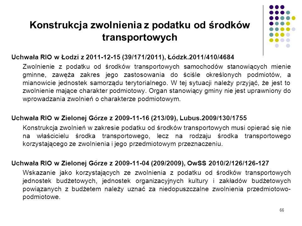 Konstrukcja zwolnienia z podatku od środków transportowych