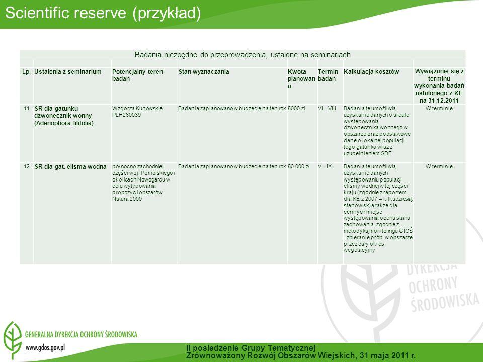 Wywiązanie się z terminu wykonania badań ustalonego z KE na 31.12.2011