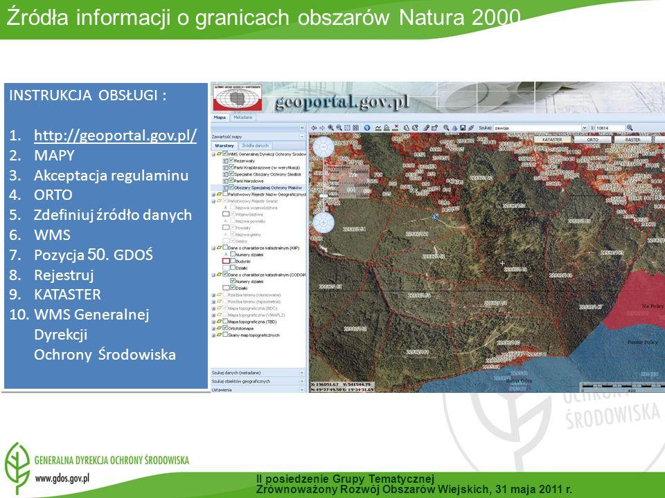 Źródła informacji o granicach obszarów Natura 2000
