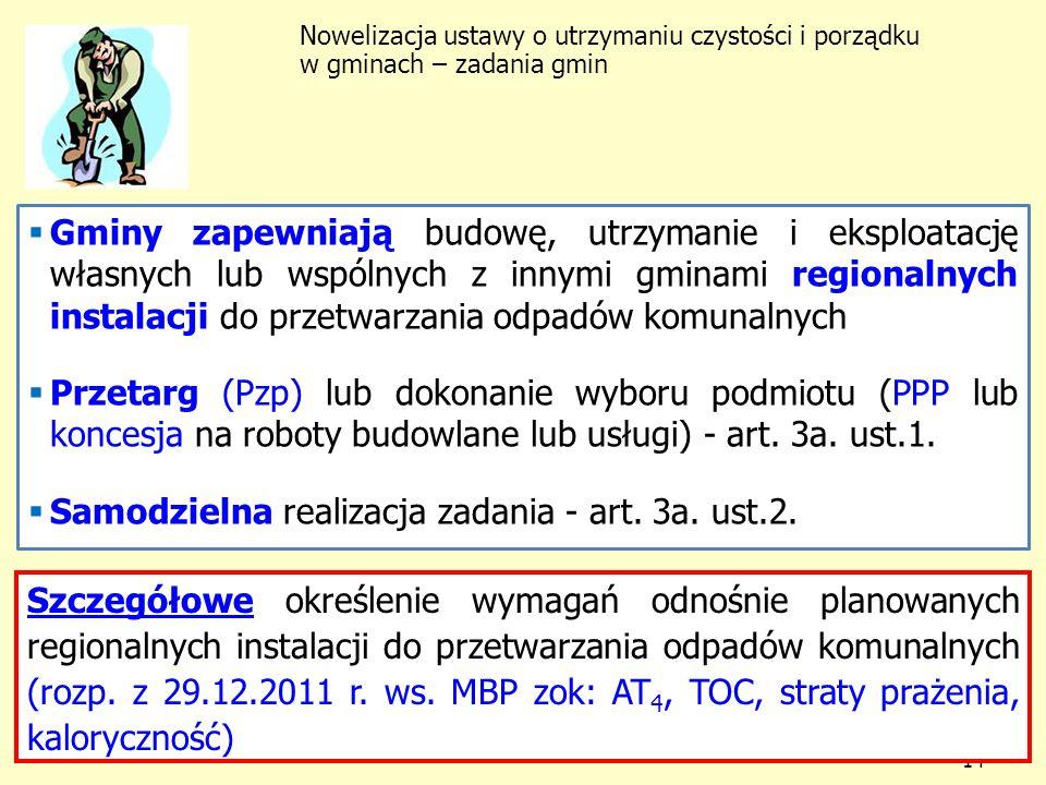 Samodzielna realizacja zadania - art. 3a. ust.2.