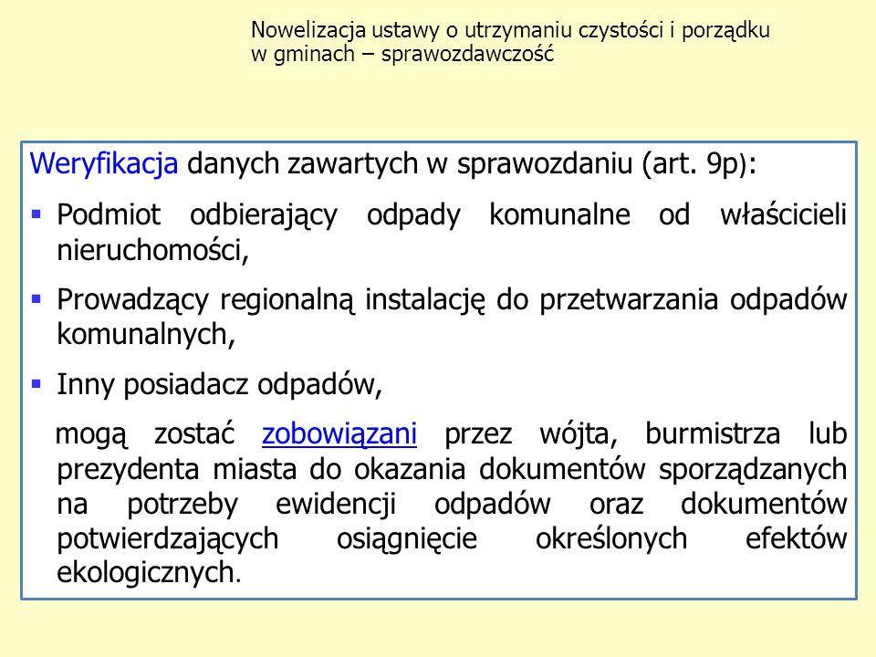 Weryfikacja danych zawartych w sprawozdaniu (art. 9p):
