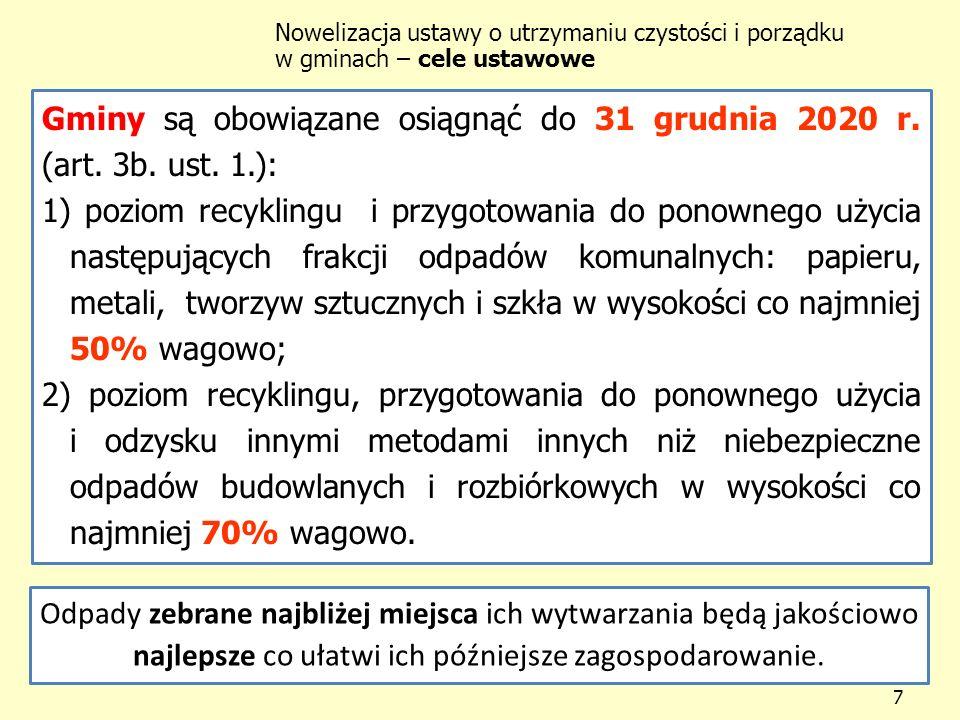 Gminy są obowiązane osiągnąć do 31 grudnia 2020 r. (art. 3b. ust. 1.):