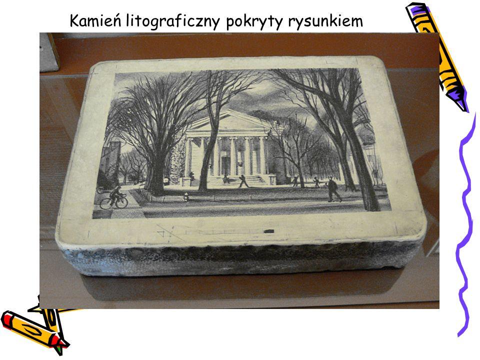 Kamień litograficzny pokryty rysunkiem