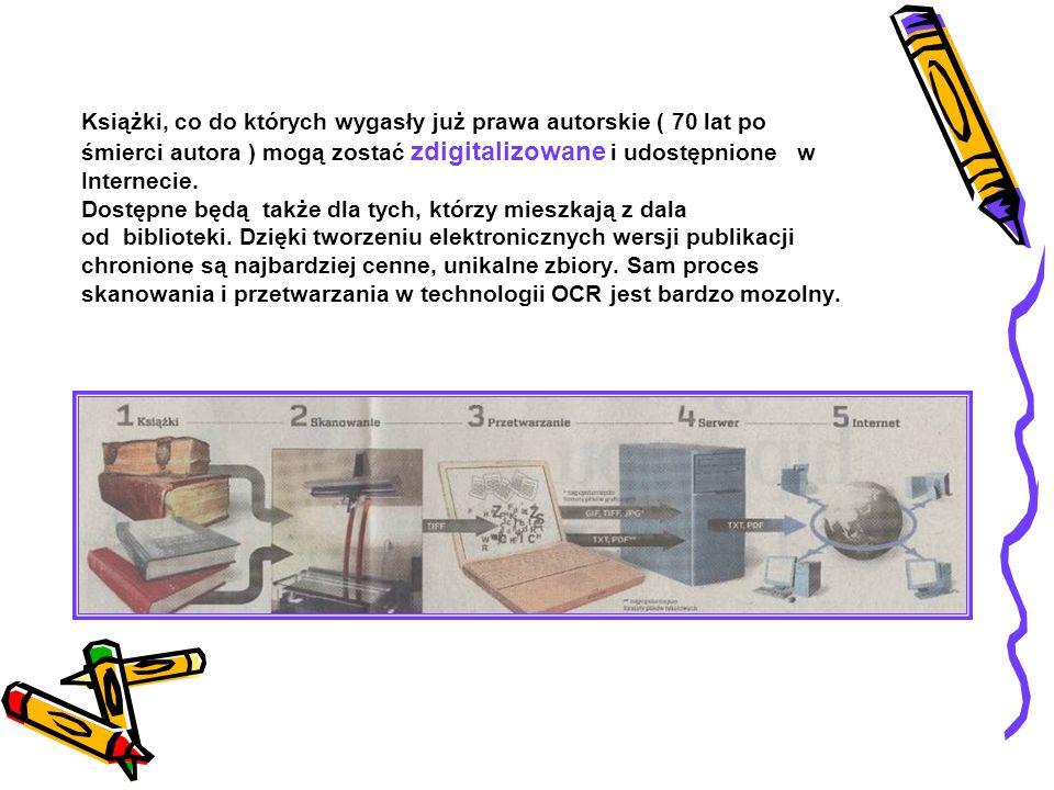 Książki, co do których wygasły już prawa autorskie ( 70 lat po śmierci autora ) mogą zostać zdigitalizowane i udostępnione w Internecie.