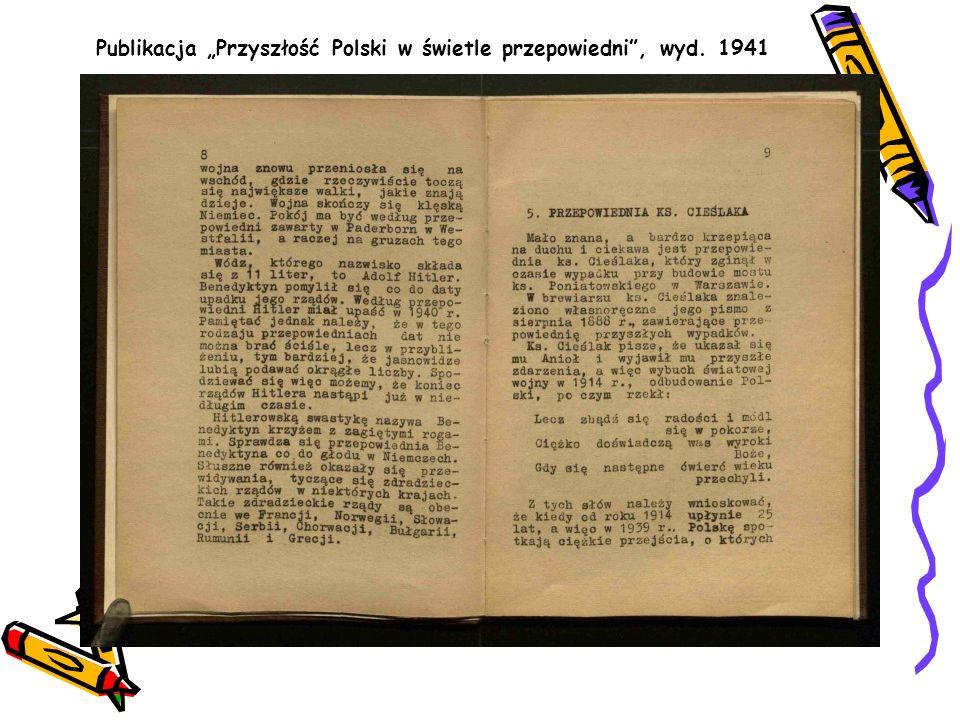 """Publikacja """"Przyszłość Polski w świetle przepowiedni , wyd. 1941"""
