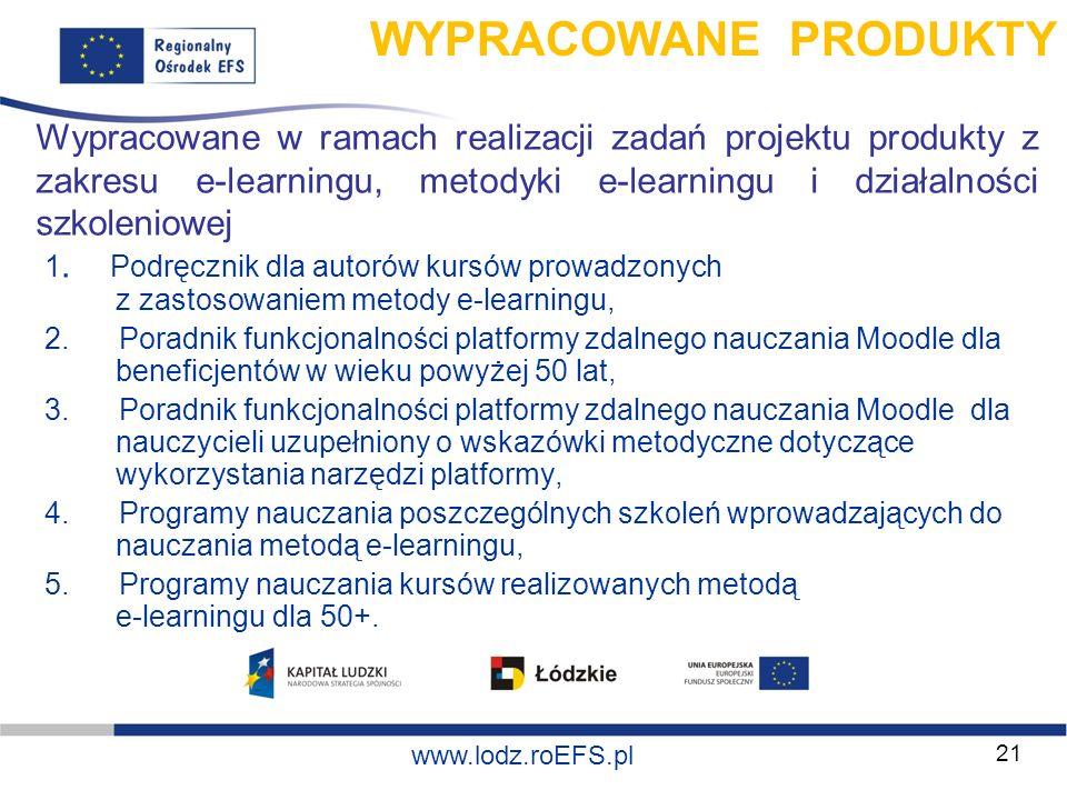 WYPRACOWANE PRODUKTY Wypracowane w ramach realizacji zadań projektu produkty z zakresu e-learningu, metodyki e-learningu i działalności szkoleniowej.
