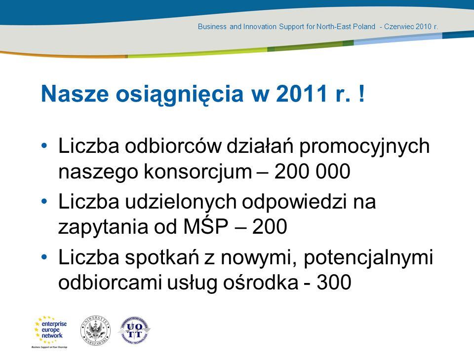 Nasze osiągnięcia w 2011 r. !Liczba odbiorców działań promocyjnych naszego konsorcjum – 200 000.