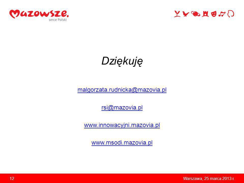 Dziękuję malgorzata.rudnicka@mazovia.pl rsi@mazovia.pl