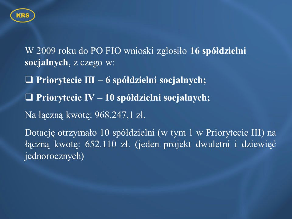 Priorytecie III – 6 spółdzielni socjalnych;