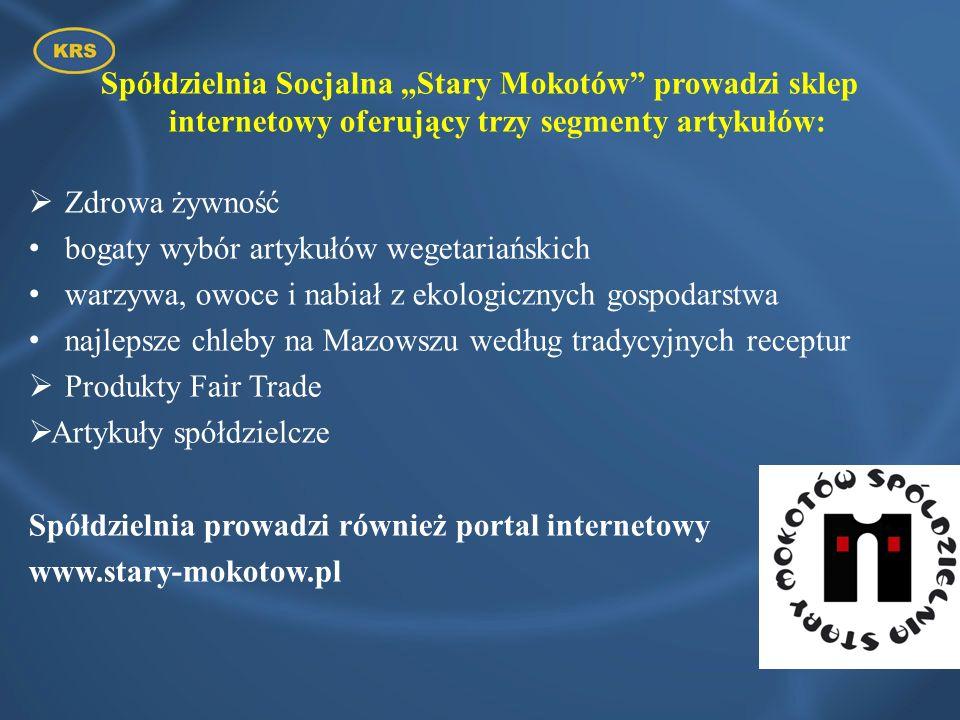 """Spółdzielnia Socjalna """"Stary Mokotów prowadzi sklep internetowy oferujący trzy segmenty artykułów:"""
