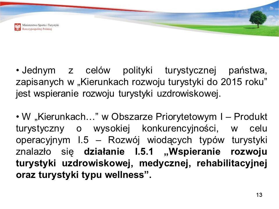"""Jednym z celów polityki turystycznej państwa, zapisanych w """"Kierunkach rozwoju turystyki do 2015 roku jest wspieranie rozwoju turystyki uzdrowiskowej."""