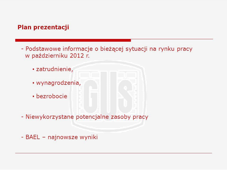 Plan prezentacji Podstawowe informacje o bieżącej sytuacji na rynku pracy. w październiku 2012 r. zatrudnienie,