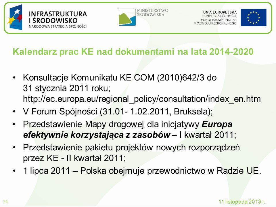 Kalendarz prac KE nad dokumentami na lata 2014-2020
