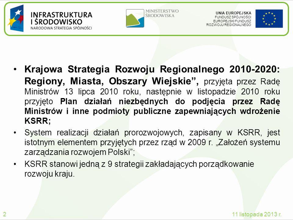Krajowa Strategia Rozwoju Regionalnego 2010-2020: Regiony, Miasta, Obszary Wiejskie , przyjęta przez Radę Ministrów 13 lipca 2010 roku, następnie w listopadzie 2010 roku przyjęto Plan działań niezbędnych do podjęcia przez Radę Ministrów i inne podmioty publiczne zapewniających wdrożenie KSRR;