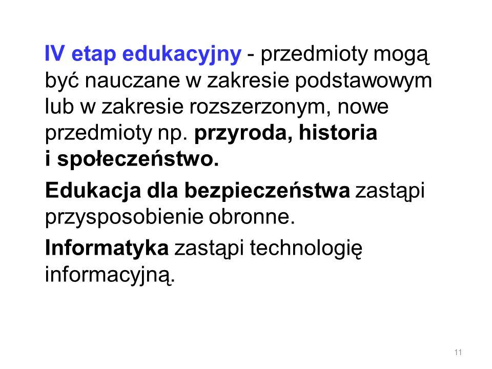 IV etap edukacyjny - przedmioty mogą być nauczane w zakresie podstawowym lub w zakresie rozszerzonym, nowe przedmioty np.
