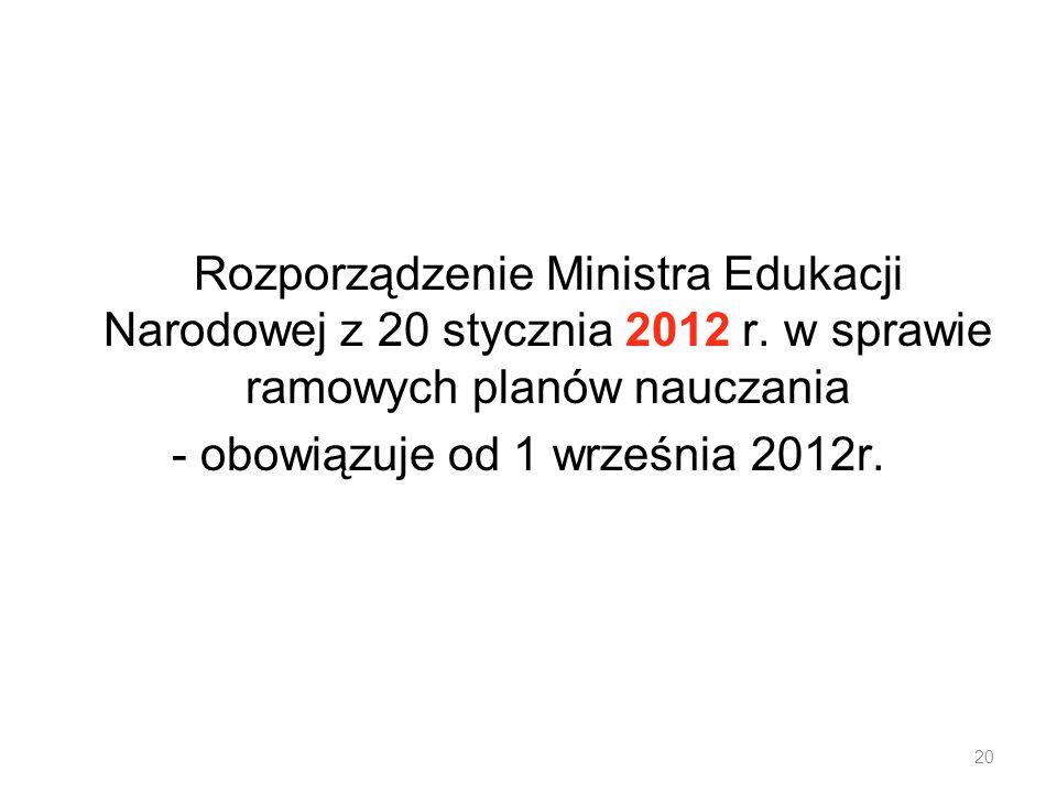 - obowiązuje od 1 września 2012r.