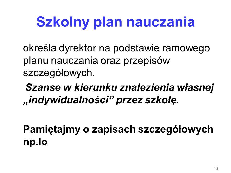 Szkolny plan nauczania
