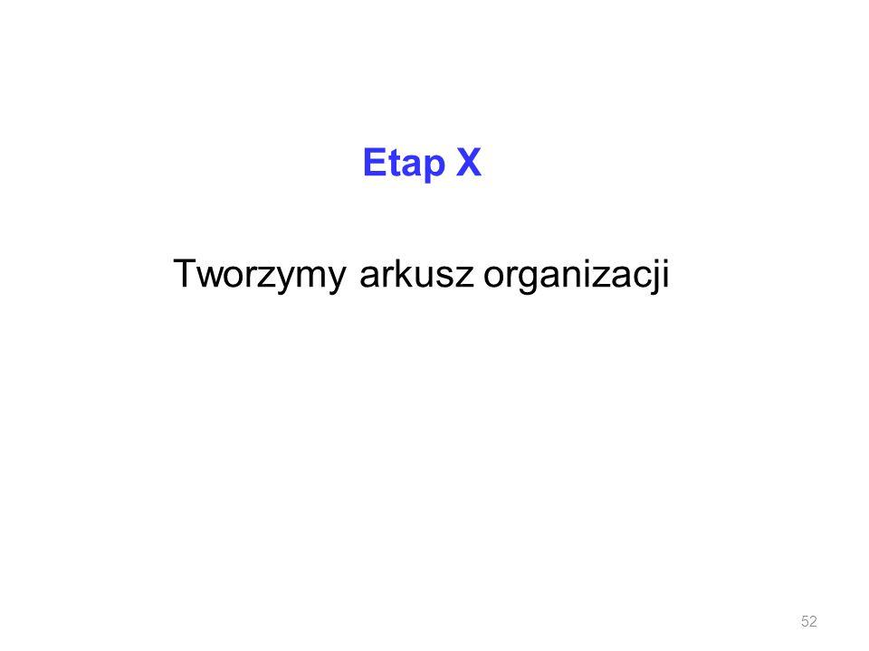 Etap X Tworzymy arkusz organizacji
