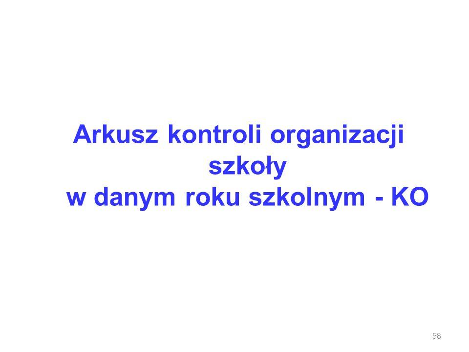 Arkusz kontroli organizacji szkoły w danym roku szkolnym - KO