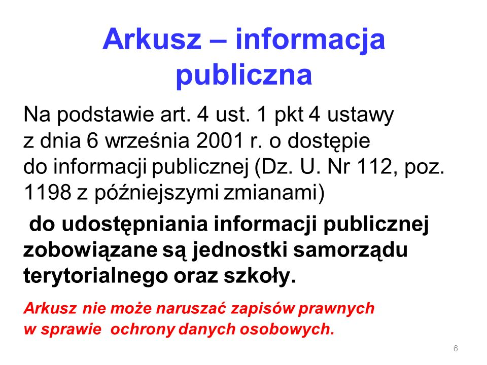 Arkusz – informacja publiczna