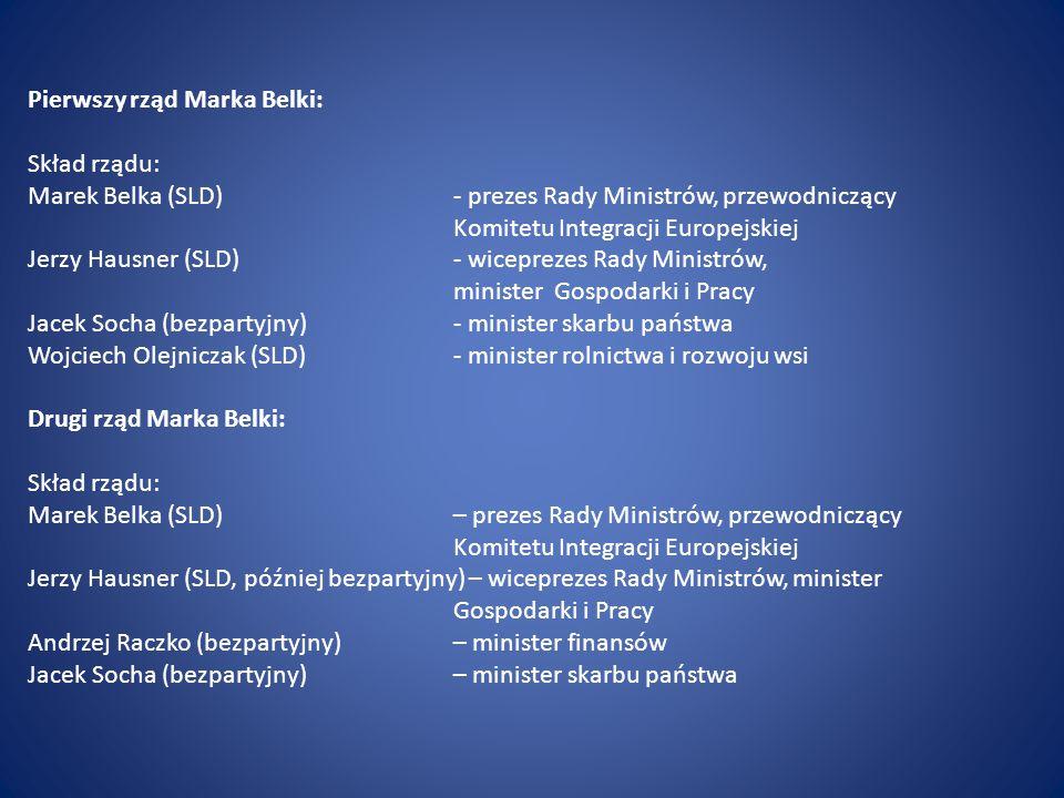 Pierwszy rząd Marka Belki: Skład rządu: Marek Belka (SLD)