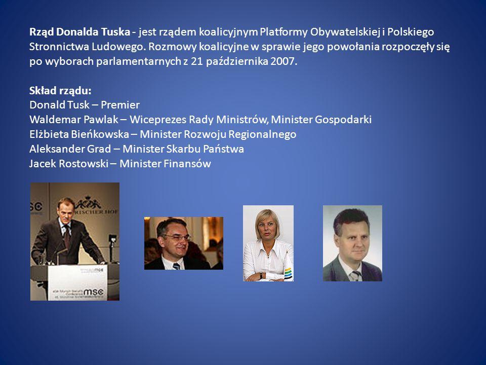 Rząd Donalda Tuska - jest rządem koalicyjnym Platformy Obywatelskiej i Polskiego Stronnictwa Ludowego.