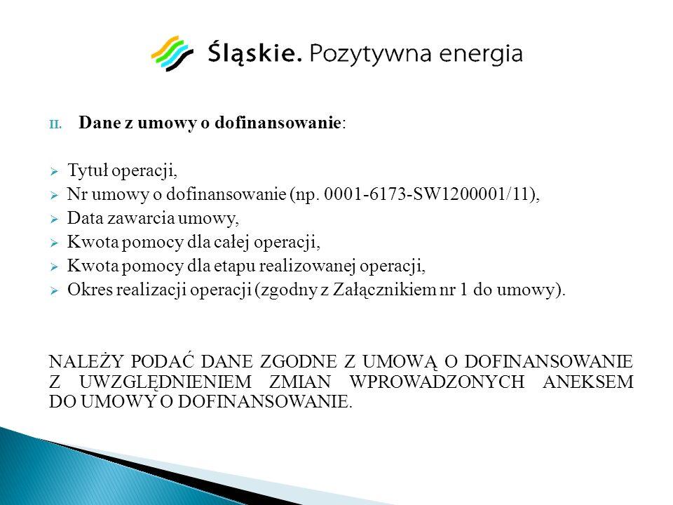Dane z umowy o dofinansowanie: