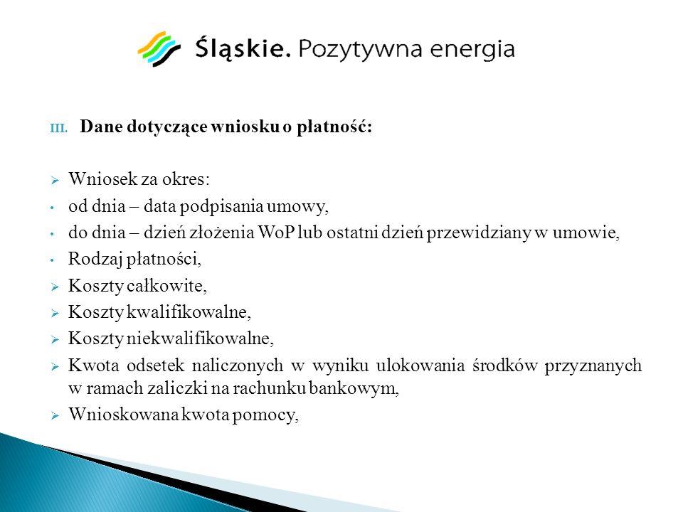 Dane dotyczące wniosku o płatność:
