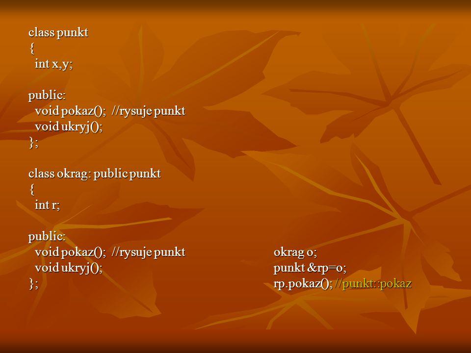 class punkt { int x,y; public: void pokaz(); //rysuje punkt. void ukryj(); }; class okrag: public punkt.