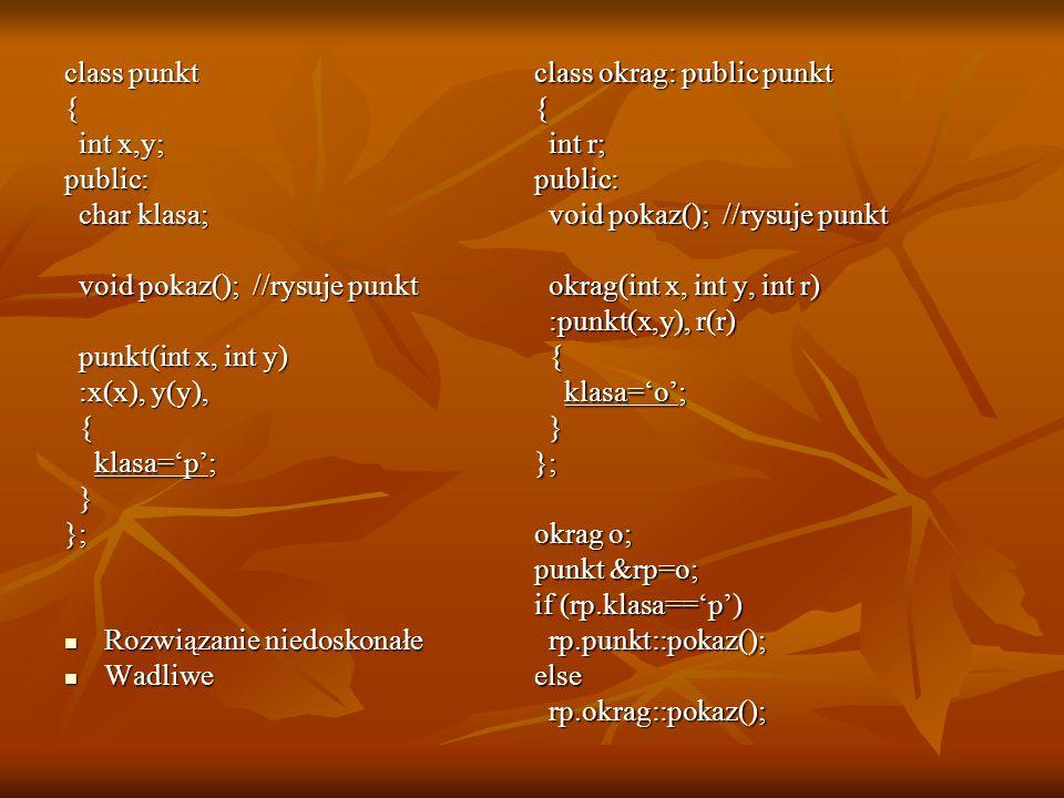 class punkt { int x,y; public: char klasa; void pokaz(); //rysuje punkt. punkt(int x, int y) :x(x), y(y),