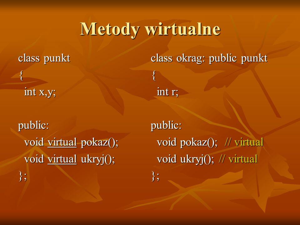 Metody wirtualne class punkt { int x,y; public: void virtual pokaz();