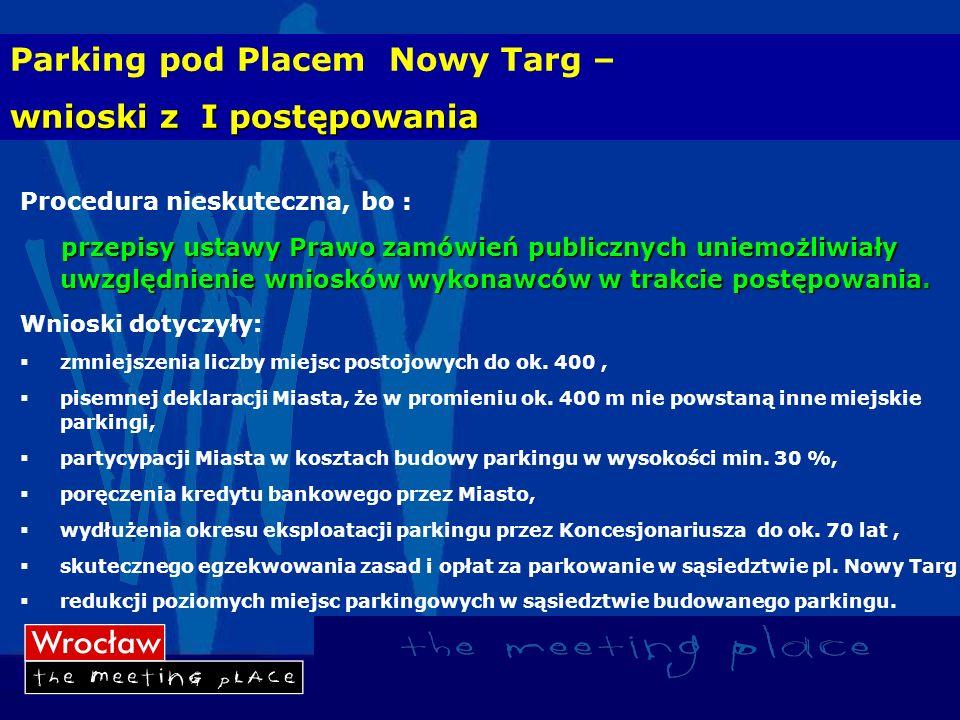 Parking pod Placem Nowy Targ – wnioski z I postępowania