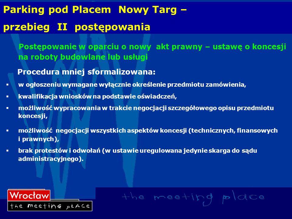 Parking pod Placem Nowy Targ – przebieg II postępowania