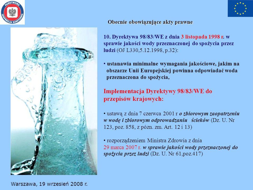 Implementacja Dyrektywy 98/83/WE do przepisów krajowych: