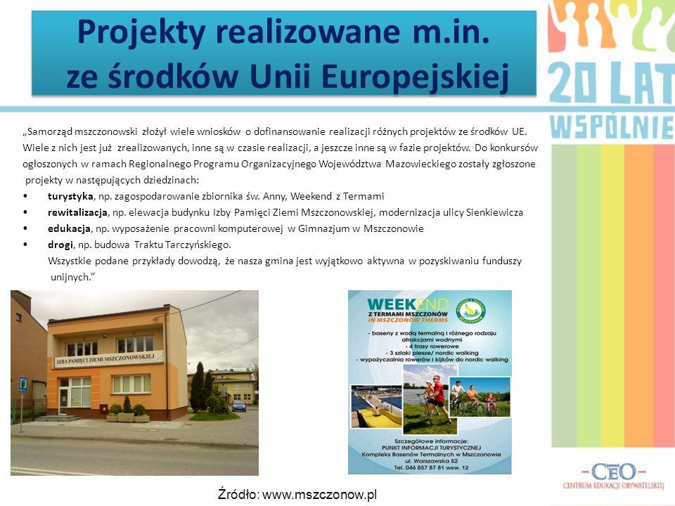 Projekty realizowane m.in. ze środków Unii Europejskiej