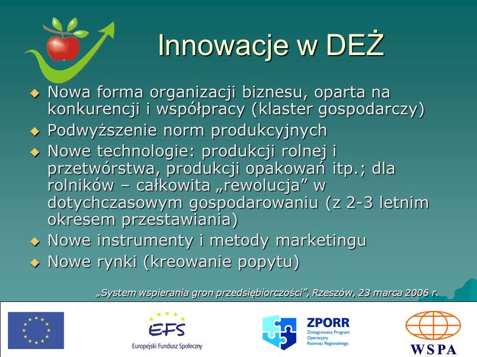 Innowacje w DEŻ Nowa forma organizacji biznesu, oparta na konkurencji i współpracy (klaster gospodarczy)