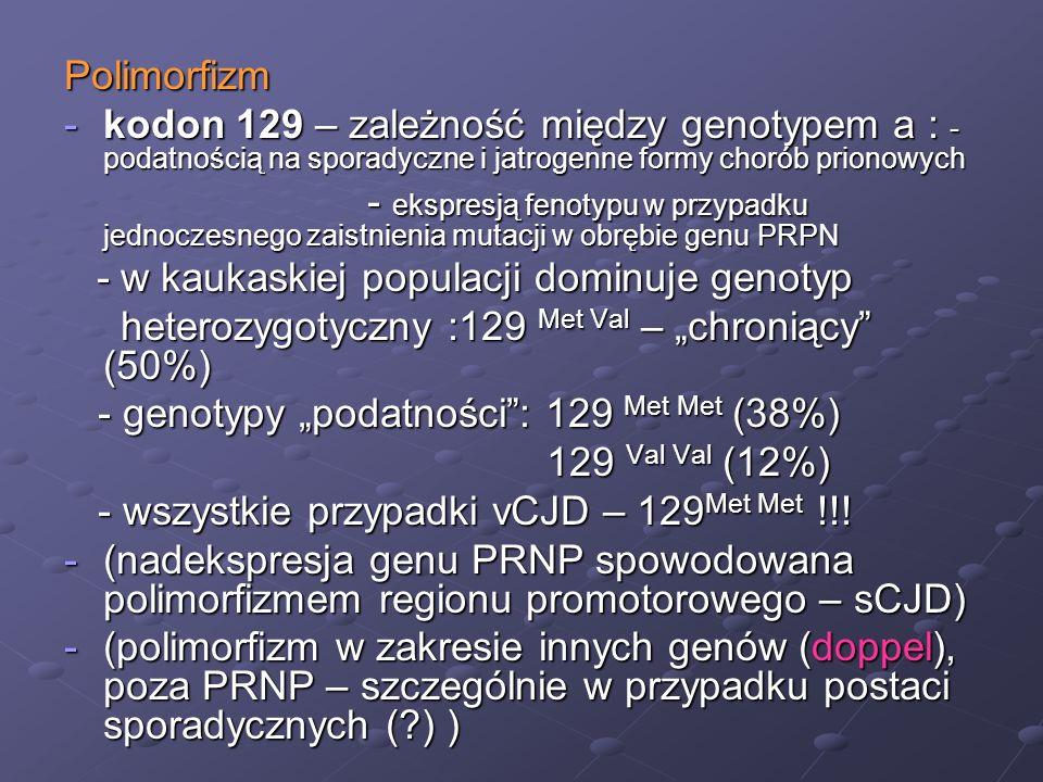"""heterozygotyczny :129 Met Val – """"chroniący (50%)"""