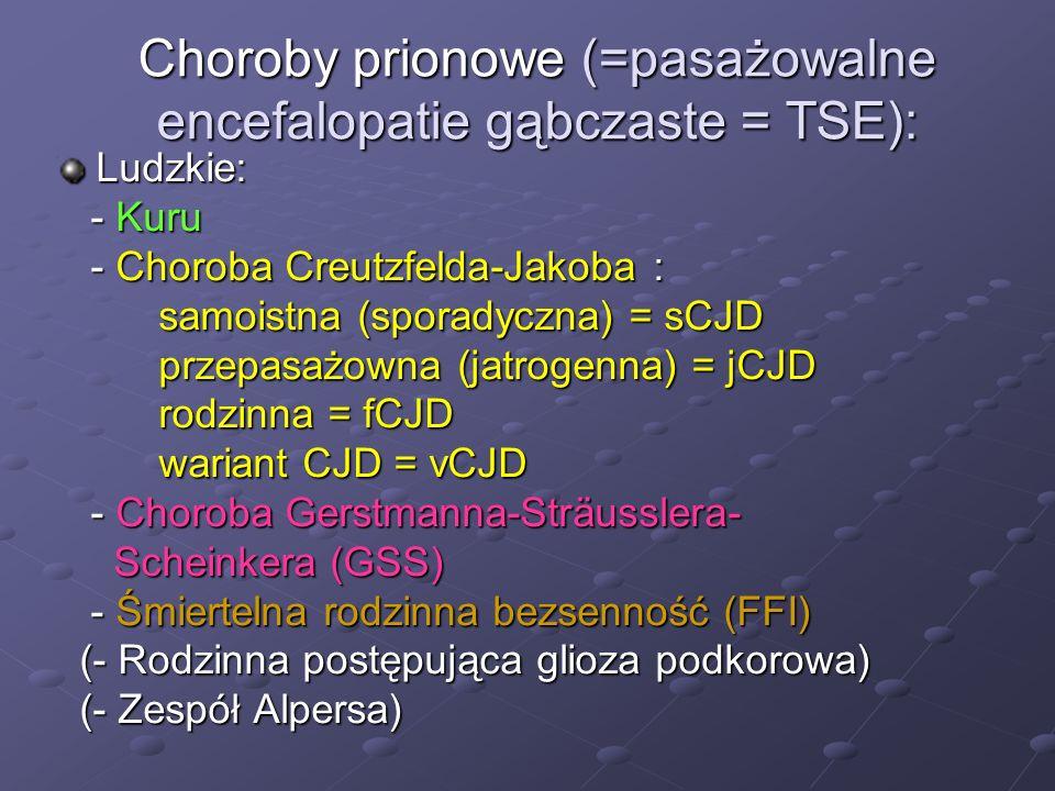Choroby prionowe (=pasażowalne encefalopatie gąbczaste = TSE):