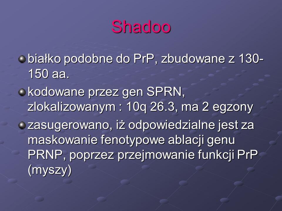 Shadoo białko podobne do PrP, zbudowane z 130-150 aa.