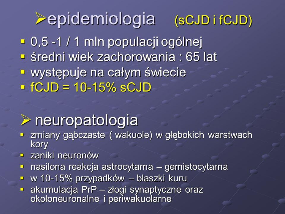 epidemiologia (sCJD i fCJD)