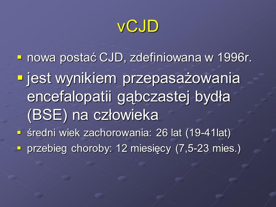 vCJD nowa postać CJD, zdefiniowana w 1996r. jest wynikiem przepasażowania encefalopatii gąbczastej bydła (BSE) na człowieka.