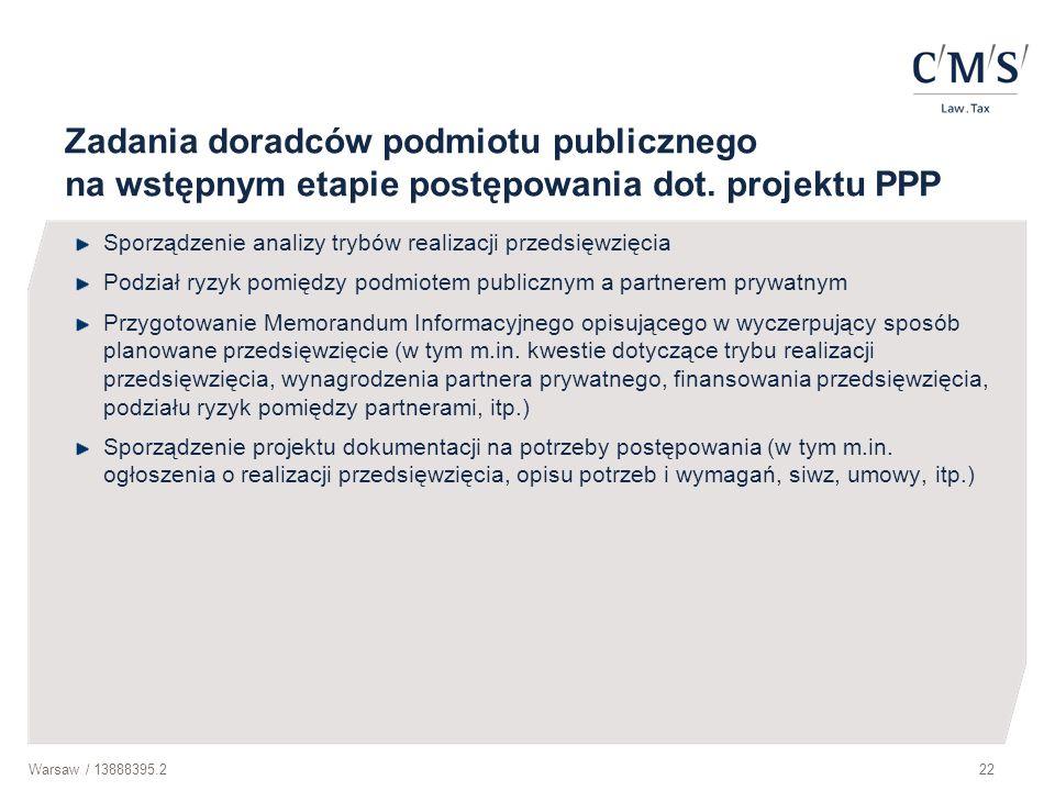 Zadania doradców podmiotu publicznego na wstępnym etapie postępowania dot. projektu PPP