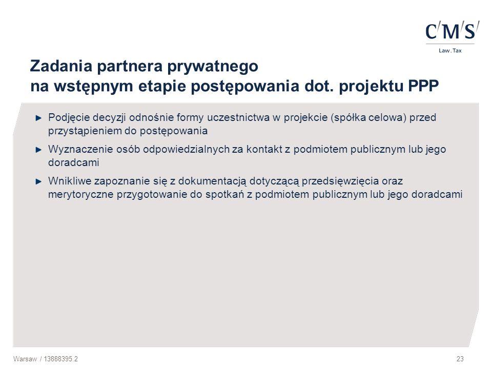 Zadania partnera prywatnego na wstępnym etapie postępowania dot