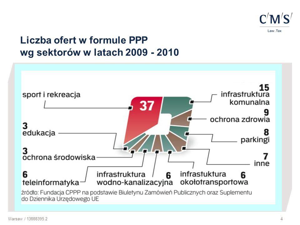 Liczba ofert w formule PPP wg sektorów w latach 2009 - 2010