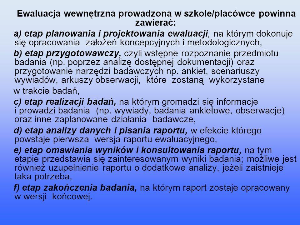 Ewaluacja wewnętrzna prowadzona w szkole/placówce powinna zawierać:
