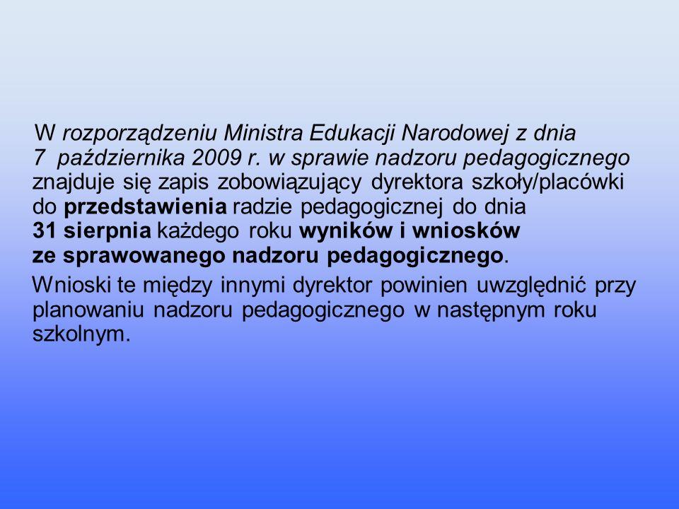 W rozporządzeniu Ministra Edukacji Narodowej z dnia 7 października 2009 r. w sprawie nadzoru pedagogicznego znajduje się zapis zobowiązujący dyrektora szkoły/placówki do przedstawienia radzie pedagogicznej do dnia 31 sierpnia każdego roku wyników i wniosków ze sprawowanego nadzoru pedagogicznego.