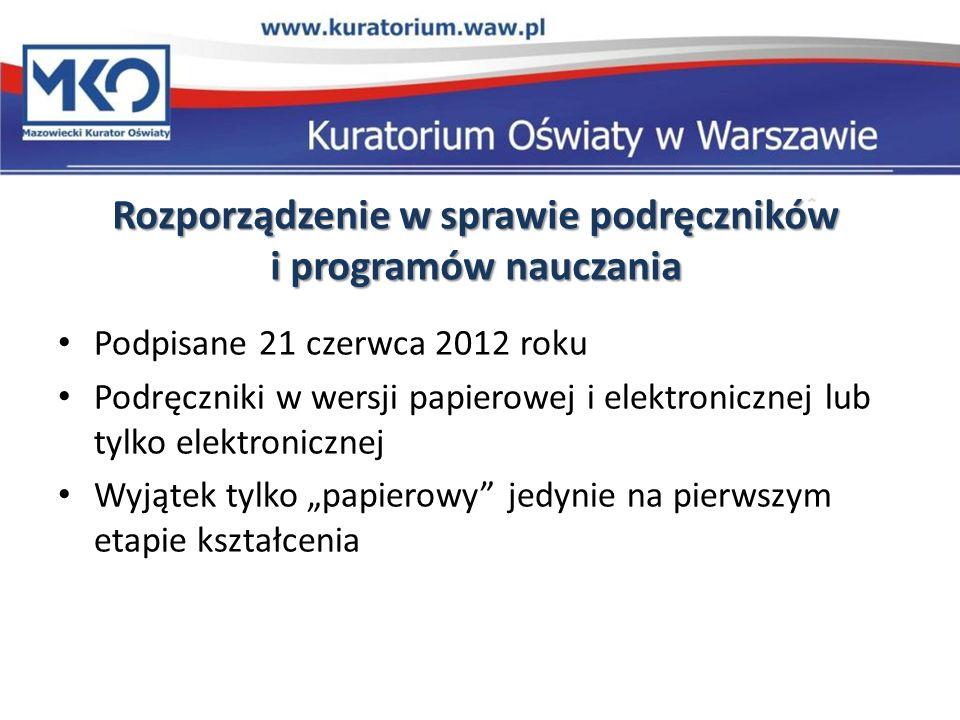 Rozporządzenie w sprawie podręczników i programów nauczania