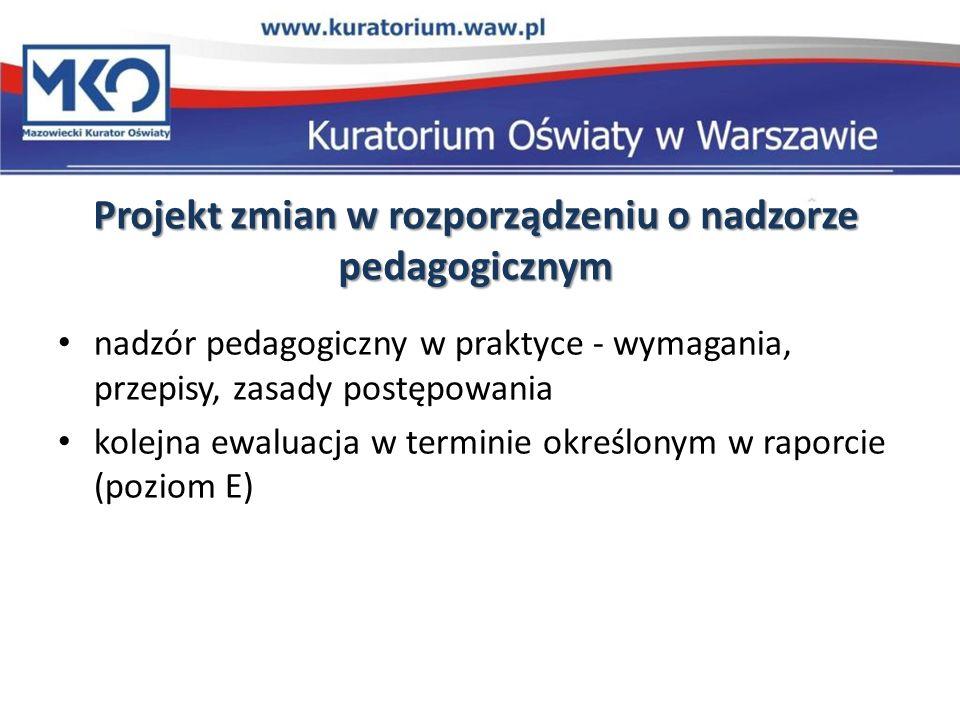 Projekt zmian w rozporządzeniu o nadzorze pedagogicznym