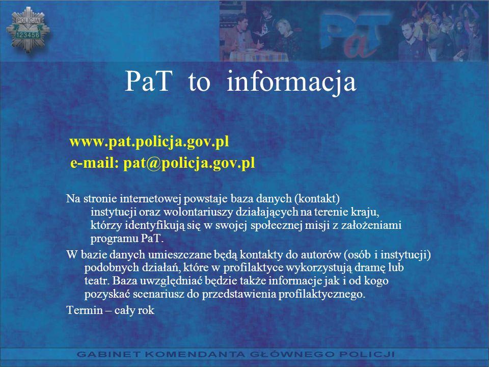 PaT to informacja e-mail: pat@policja.gov.pl www.pat.policja.gov.pl