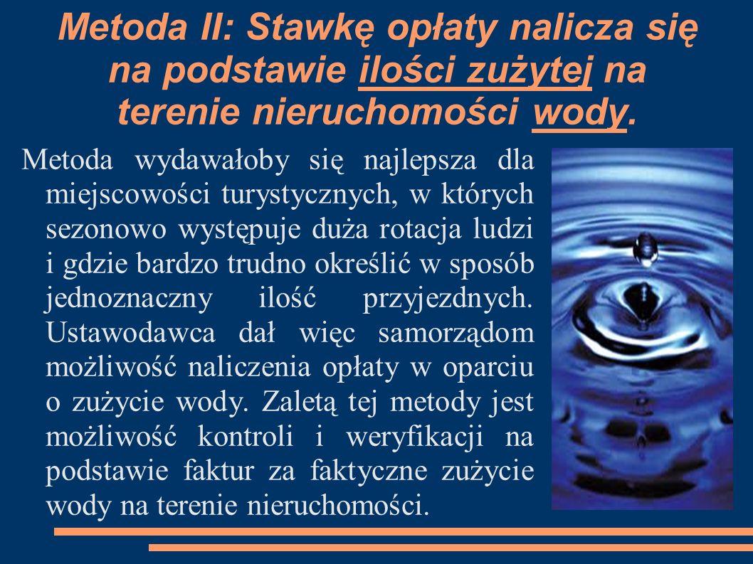 Metoda II: Stawkę opłaty nalicza się na podstawie ilości zużytej na terenie nieruchomości wody.